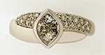 Diamond double band crossover ring