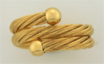 14K yellow gold cable ring with end balls